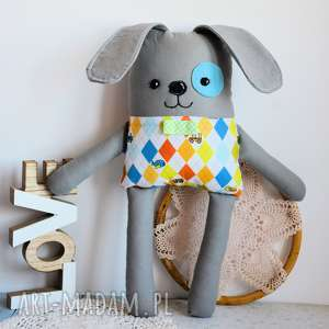 piesek łatek - walduś - 39 cm pies zabawka, maskotka, przytulanka, bezpieczna