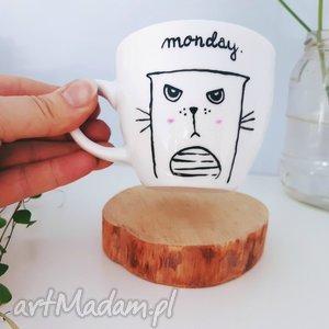 filiżanka monday - ,filiżanka,kot,cat,kotek,monday,skandynawska,