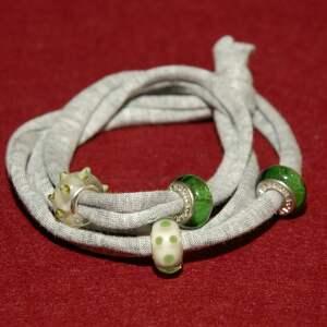 bransoletka z zielonymi koralikami modułowymi, modułowe, melanż, bawełna