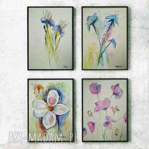 Kwiaty-cztery akwarele każda formatu 18 24 cm paulina lebida