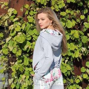 bluzy bluza z komino - kapturem kwiat czereśni, kaptur, kaputrem