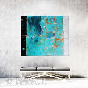 obraz olejny - błękit i biel xiii, olejny, malarstwo nowoczesne, sztuka