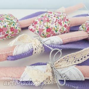 ręcznie zrobione dekoracje tulipanek bawełniano filcowy różowy