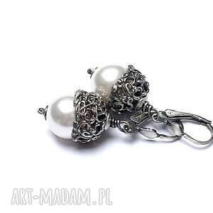prezent na święta, perły w sweterku, srebro, oksydowane, perły, swarovski