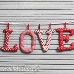 LOVE LITEROWE szyte literki, love, dekoracja, ozdoba, bawełniane, girlanda