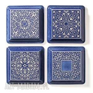 dekory ciemnoniebieskie z ramą, dekory, kafle, płytki, marokańskie, dekoracja