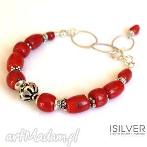 czerwony koral bransoletka, koral, naturalny, srebro, prezent, autorska, isilver