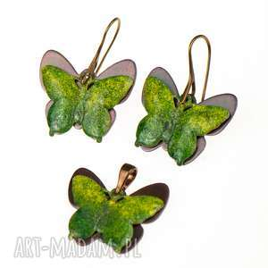c233 komplet z zielonymi motylami - komplet bizuterii, komplet z motylami, biżuteria z