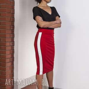 ołówkowa spódnica midi z lampasami, sp117 czerwony, spódnica, midi, ołówkowa, sexy