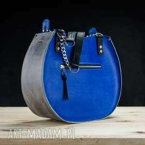 oryginalna torebka w pięknych kolorach szafirowym i szarym od ladybuq rozmiary m