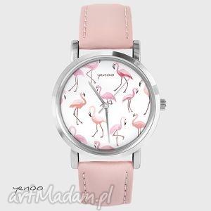 Prezent Zegarek, bransoletka - Flamingi pudrowy róż, skórzany, zegarek, skórzany