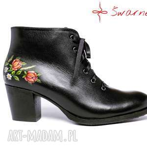 buty sznurowane botki malowane w kwiaty pienińskie, folk, ludowe, malowane