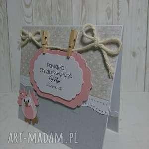 zaproszenie kartka sowa z klamerkami - urodziny, chrzest, narodziny, sesja, pamiatka