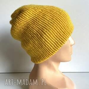 ręcznie robiona czapka smerfetka żółta - edycja limitowana, czapka