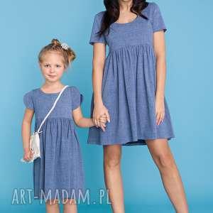 KOMPLET DLA MAMY I CÓRKI, sukienka letnia odcinana pod biustem, imitacja jeansu