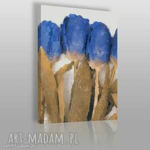 obraz na płótnie - niebieskie tulipany - 50x70 cm 04001 - tulipany, bukeit