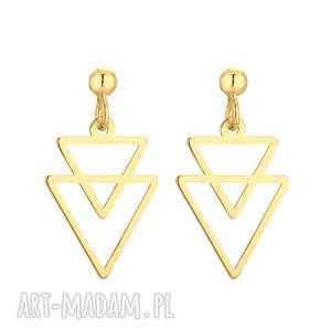 Złote kolczyki podwójne trójkąty - ,kolczyki,trójkąty,sztyfty,żółte,złoto,modowe,