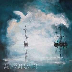 morze-obraz akrylowy formatu 40/30 cm, morze, łodzie, płótno