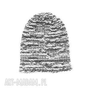 czapka melanż unisex z wełną zrobiona na drutach - czapka-zimowa