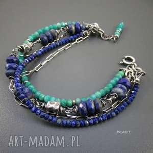 lapis lazuli z amazonitem, srebro, oksydowane, amazonit, lapis, prezent na święta