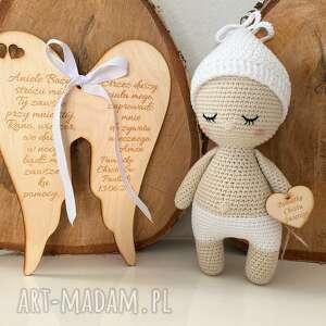 hand made lalki szydełkowa lalka dzidziuś na pamiątkę chrztu