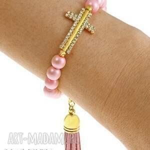 ręcznie robione bransoletki cross & tassel in candy pink