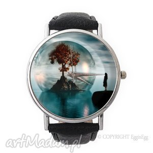 drzewo życia - skórzany zegarek z dużą tarczą - niebieskie