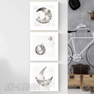zestaw 3 grafik 20x20 cm wykonanych ręcznie, tryptyk do salonu, 2538056, obrazy