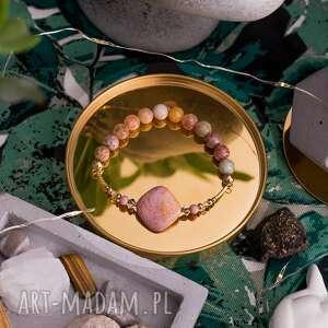 beżowa bransoletka high z rodonitów agatów cytrynów i złotych hematytów
