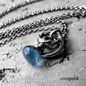 srebro i granatowy kwarc- naszyjnik., delikatny, surowy, minimalistyczny,