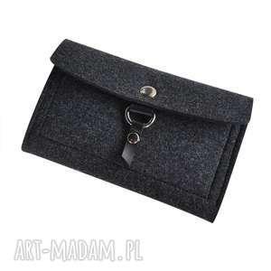 Filcowy portfel - grafitowy z zawieszką skórzaną portfele
