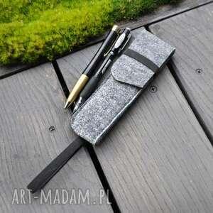 etui na długopisy z gumką notes a5 - szare, etui, opakowanie, filc, filcowe