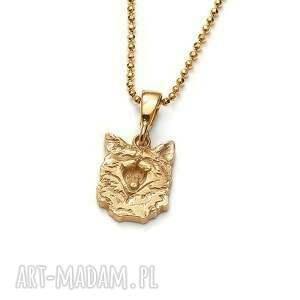 wisiorki mini wisiorek z ziewającym kotem pozłoconego srebra, złocony