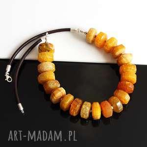 handmade naszyjniki agat bursztynowy