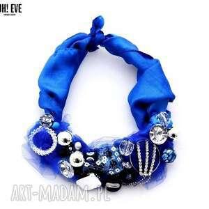 kobalt naszyjnik handmade, naszyjnik, niebieski, kobalt, szafir