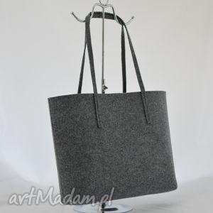 torebka minimalistyczna - szara filcowa, filc, minimalizm