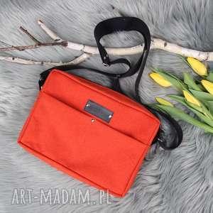 pomarańczowa torebka box aurora listonoszka, pojemna