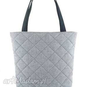 Quilted gray - ,torebka,pikowana,shopper,