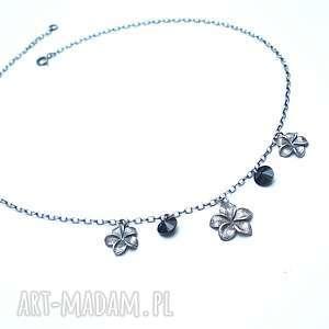 Orchid /black/ - naszyjnik, srebro-oksydowane, swarovski, kwiaty, metaloplastyka