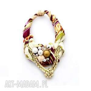 belle epoque naszyjnik handmade - naszyjnik, kolia, kolorowy, wielobarwny, kremowy