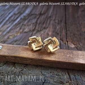 zamotane kwadraty kolczyki ze złoconego srebra, srebro, złocone, kwardat