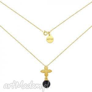 złoty naszyjnik z rozetką i czarną perłą swarovski® crystal