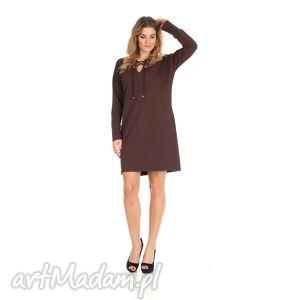 sukienki 46-sukienka sznurowany dekolt,brązowa,rękaw długi, lalu, sukienka, dzianina