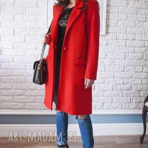 bien fashion czerwony wiosenny płaszcz damski midi, zapinany, flauszowy