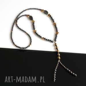 handmade naszyjniki hematyt czarno-złoty - naszyjnik