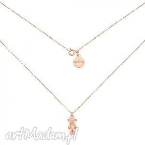 naszyjnik z misiem różowego złota, modne, naszyjnik, miś, misio, zawieszka, srebro
