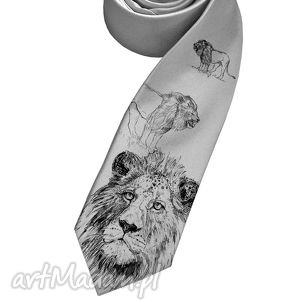 krawat z lwem, krawat, lew, lwy, śledzik, nadruk, prezent