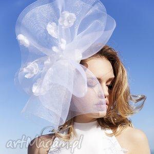 Ślubny fascynator, biały, ślub, jedwab, kwiaty