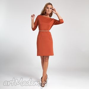 sukienki nina - sukienka ruda, moda, dzianina, rudy