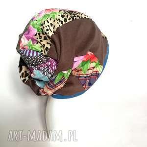 ręczne wykonanie czapki czapka damska kolorowa smerfetka długa handmade boho